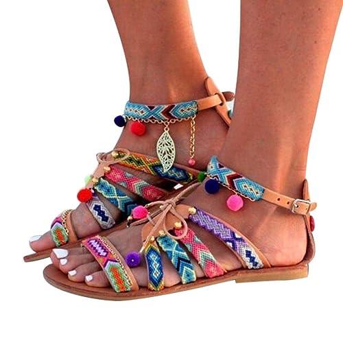 BeautyTop Sandales Plates de Style Bohème pour Femme Multicolore Femmes Bohême Tropeziennes Strass Blanche Marron Grande Taille Montante Lacets Gladiator en Cuir Appartements Chaussures