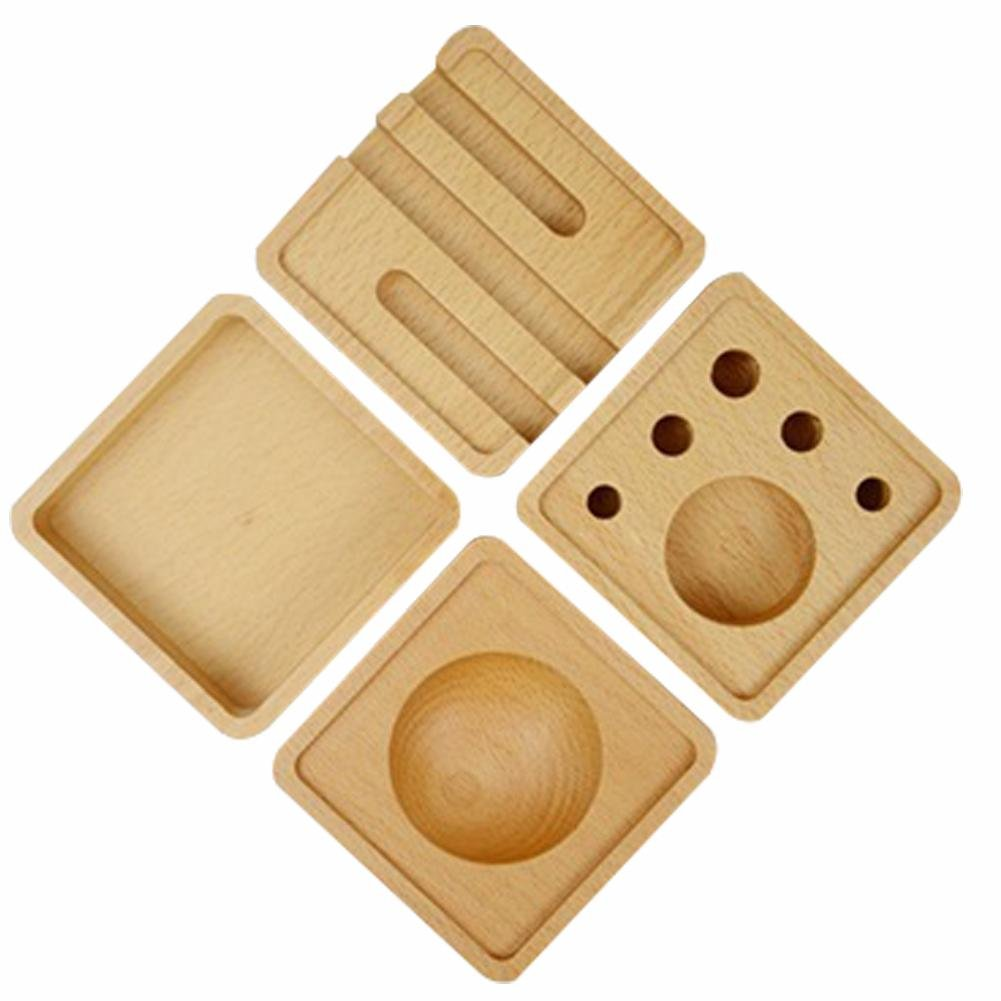 Pen Pencil Mobile Phone Desk Wooden Holder, Office Supplies Desk Organizer, Business Card Holder, Stationery Box Storage