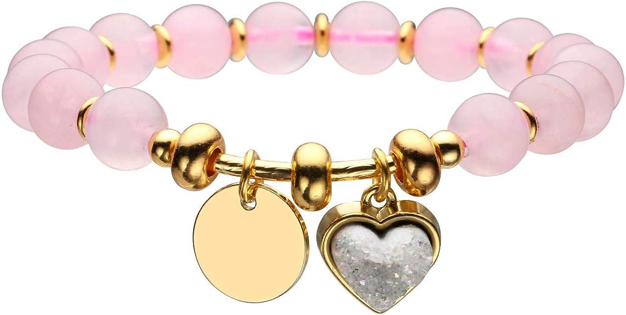 Jovivi - Pulsera de equilibrio de corazón con piedras duras naturales y verdes, colgante de metal, joyas de perlas para mujer