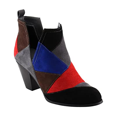 Nature Breeze FF46 Women's Slip On Patchwork Chunky Block Heel Ankle Booties | Shoes