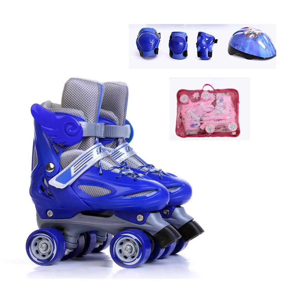 Promoción por tiempo limitado RISILAYS Patines Quad De Niña Ajustables De Patines En Línea, Tamaño Ajustable,Blue,S