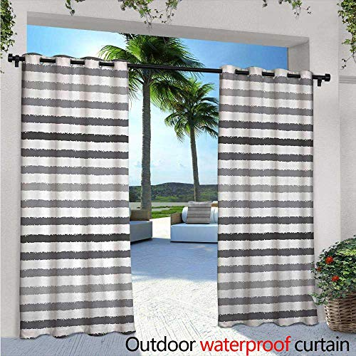 Patio Curtains W84 x L96 Gray and White Stripes Monochrome Tone Brush Style Lines Grunge Retro Digital Print Outdoor Curtain for Patio,Outdoor Patio Curtains White Grey ()