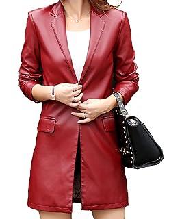 Helan Damen Lange Einfache Single Button PU Leder Mantel Lederjacke