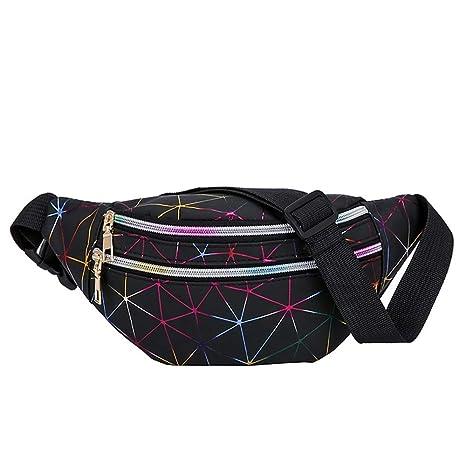 Glitter Splice Pattern Bum Bag para Niñas Mujeres Lentejuelas Bolsa de Deporte Paquete de Fanny Shiny Bumbag Sparkle Cintura Bolsa para Correr Ridding ...
