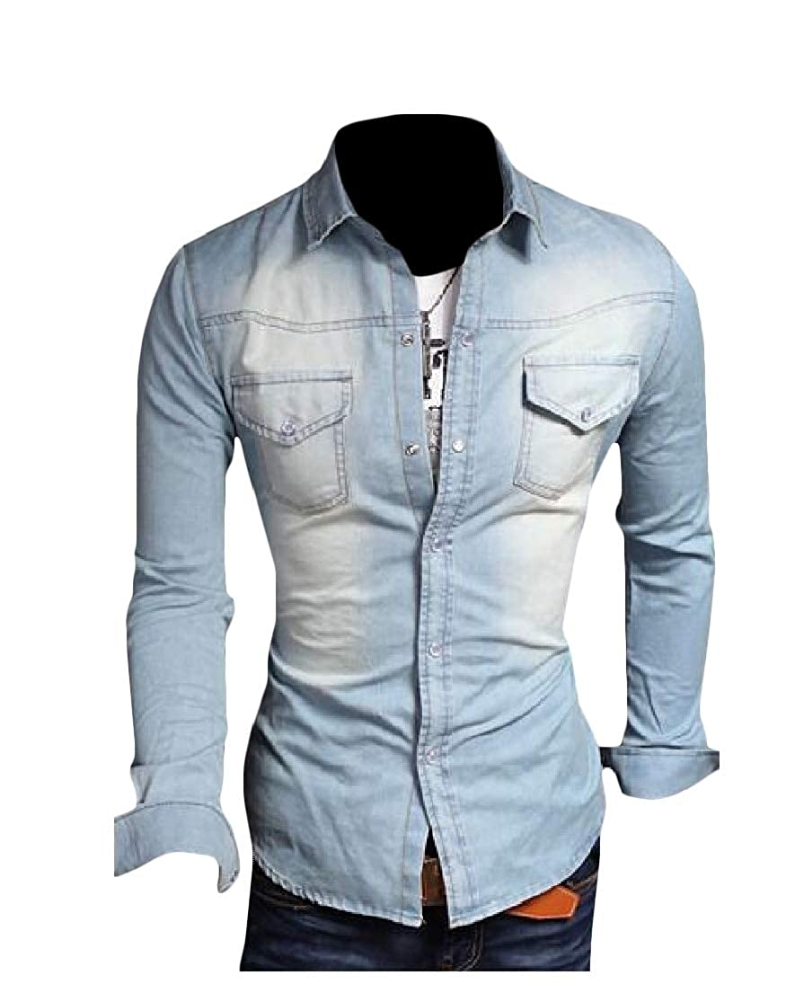 Cromoncent Men Washed Denim Button Down Big and Tall Jean Shirts