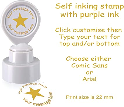 Personalised custom made Teacher 22mm self inking stamp with star TC009