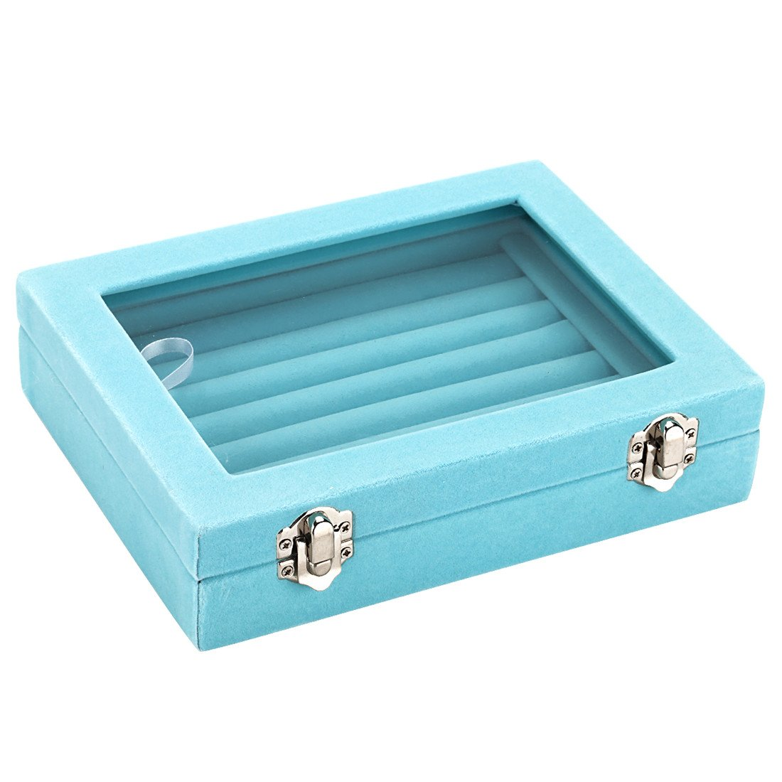 LANTWOO Velvet Glass Jewelry Display Storage Box Ring Earrings Jewelry Box Ring Holder Case 2 clasps