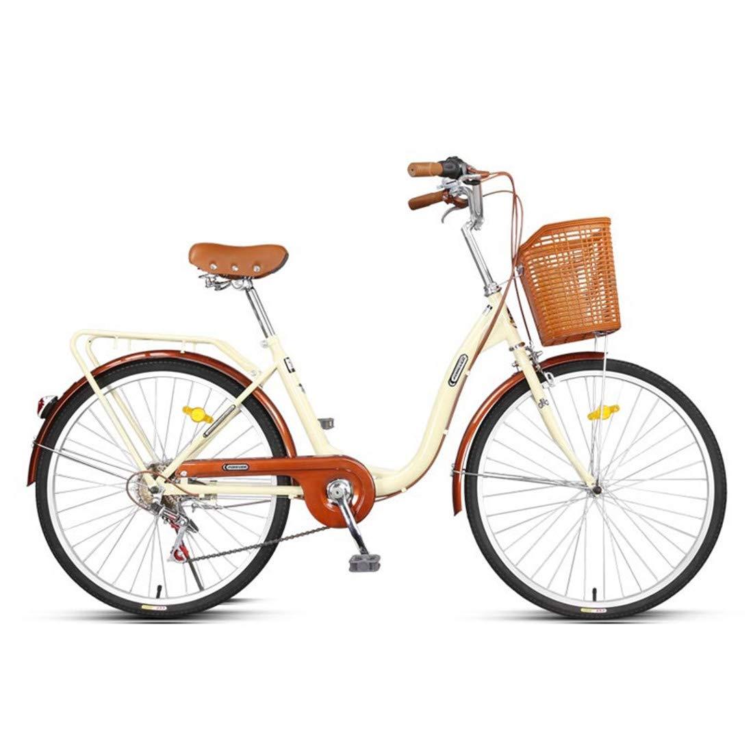 City Bike 24 Zoll 6-Gang Fahrrad Leichtgewicht Für Erwachsene Mountainbike Beige