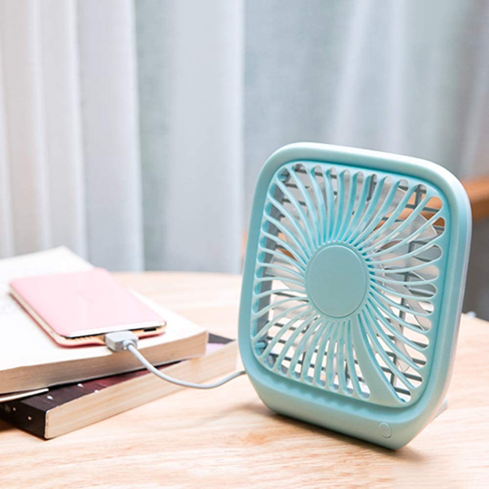 Square Table Fan Office KUWD Portable Fan Large Air Volume Suitable for Family 13 Fan Blades 3 Speeds 120 cm USB Cable Low Noise Dormitory Travel