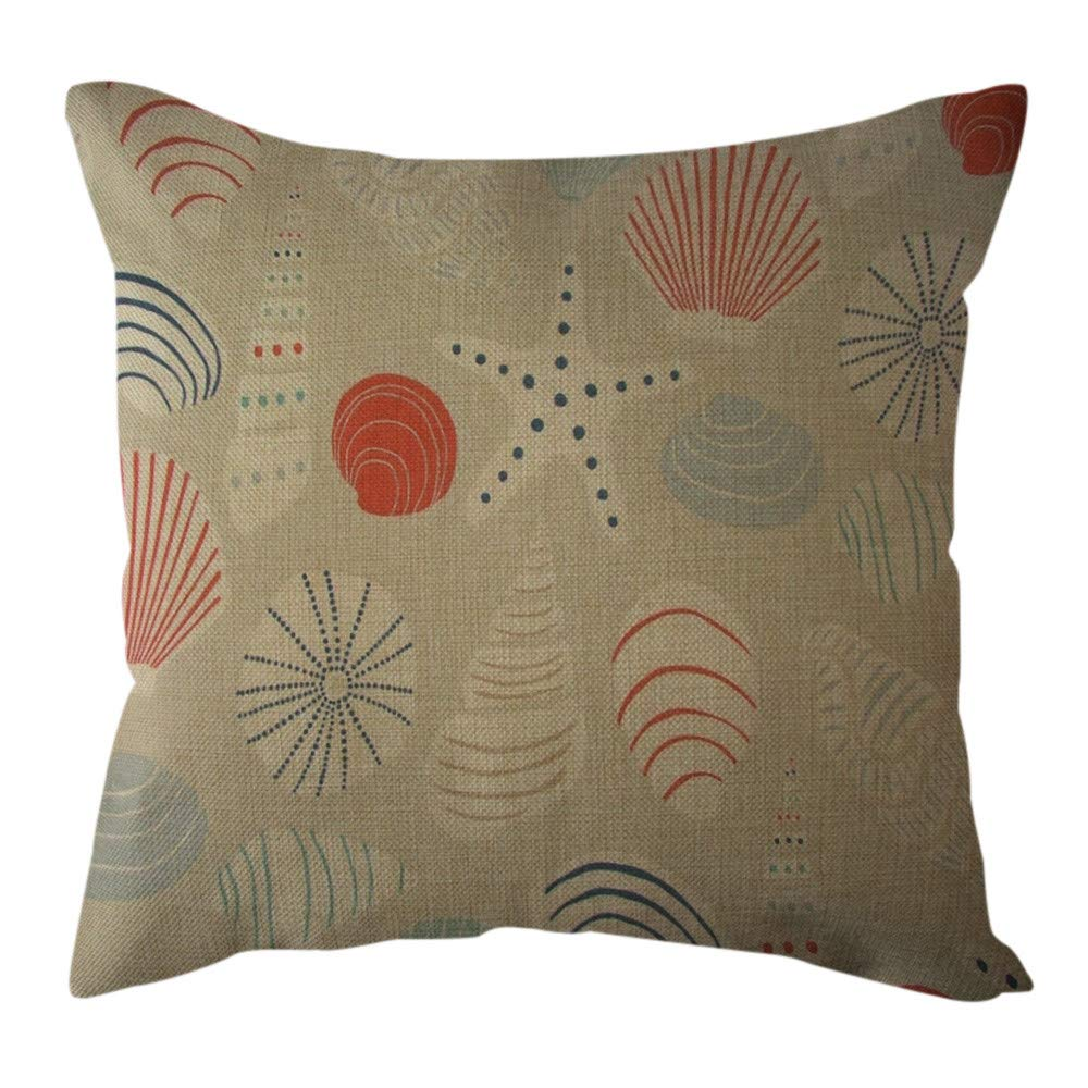 Pgojuni Cotton Linen Butterfly Home Decorative Throw Pillow Case Waist Cushion Throw Pillow Case Sofa/Couch 1pc 45X45 cm (C)