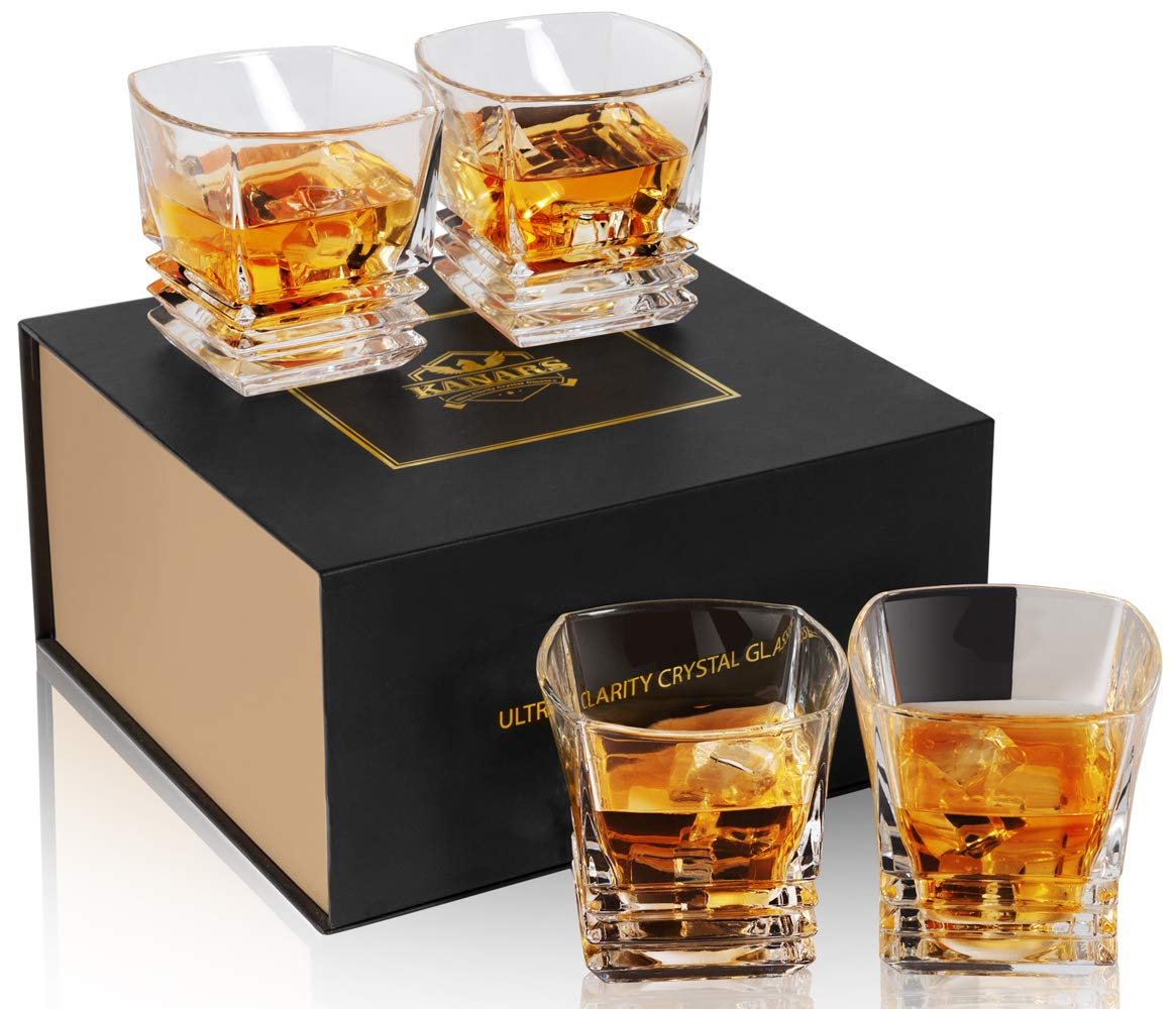 KANARS Rocks Glass - Square Whiskey Glass Tumblers for Scotch, Cocktail or Bourbon - Premium Lead Free Crystal Hand Made - 9Oz Set of 4 - Unique Elegant Gift Box