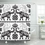 Breezat Shower Curtain India with Decorated Elephants Silhouette Border Animal Black Waterproof Polyester Fabric 60 x 72 Inches Set with Hooks