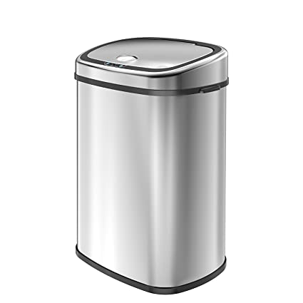 1home 58L/15.3 Gallon Infrared Touchless Automatic Motion Sensor Stainless  Steel Trash Can