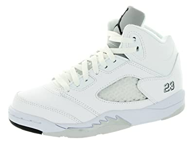 Amazon Com 440889 115 Air Jordan Retro 5 Ps Pre School Shoes Bel Air White Infrared 23 Ligth Poison Green Black Basketball