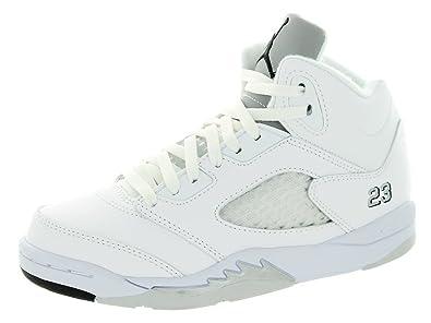 brand new 35a9d 4cf7e Jordan Nike Kids 5 Retro Bp White/Black/Metallic Silver Basketball Shoe 1.5  Kids US