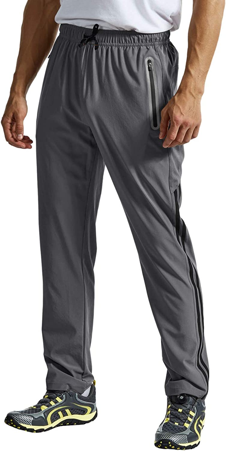 Rdruko Mens Hiking Pants Lightweight Quick Dry Stretch Running Athletic Climbing Travel Sweatpants with Pockets
