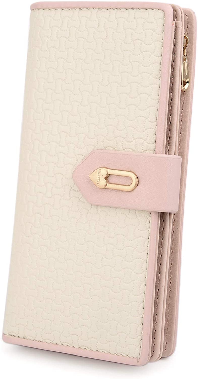 UTO Wallet for Women Card Holder Zipper Phone Checkbook Coin Organizer Purse with Snap