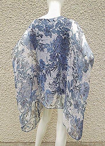 fashionfolie Femme haut top taille unique 44/46/48/50/52/54/56/58/60 tunique grande taille ample fluide BLEU