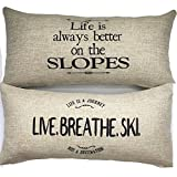 Evelyn Hope Collection Ski theme rustic message Throw Pillow