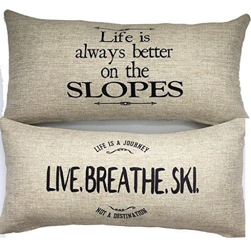 Evelyn Hope Collection Ski Theme Rustic Message Indoor Outdoor Throw Pillow-ski Signs,ski Decor,ski Gifts,ski Pillows,ski Sayings, ski Quotes,ski Pillows