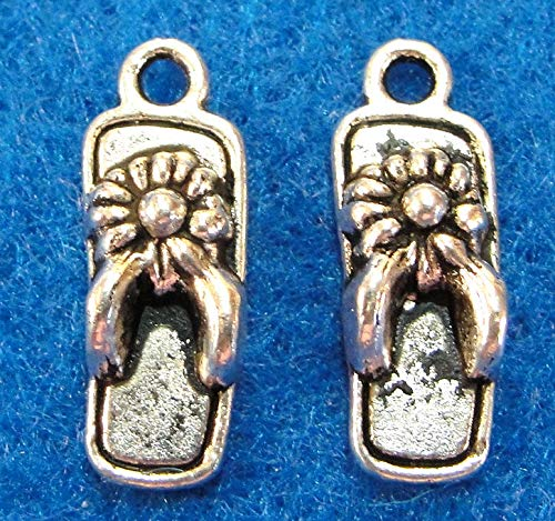 10Pcs. Tibetan Silver Flip Flop Shoe Charms Pendants Earring Drops PR25