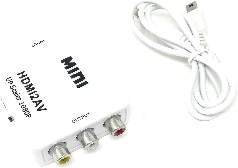 Mondpalast Adaptador Conversor de señal HDMI a AV Rca Analogica video -NTSC/PAL HDMI-to-AV, blanco