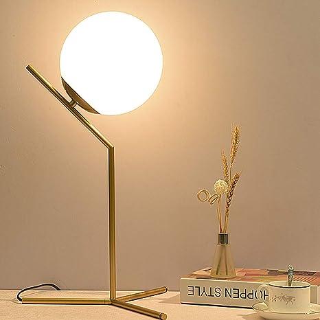 ELINKUME Lámpara de mesa de bola de cristal, Pantalla de luna llena creativa y marco de metal de bronce, Minimalista E27 Lámpara decorativa de noche