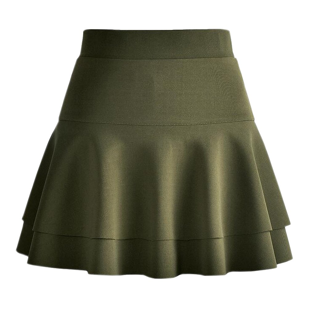 Afibi Stretchy Flared Ruffle Layered Mini Skater Skirts for Women (Medium, Army Green 2)