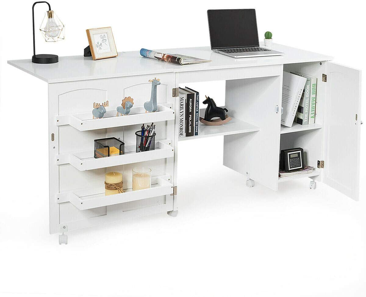 Folding Sewing Table Shelves Storage Cabinet Craft Cart with Wheels White