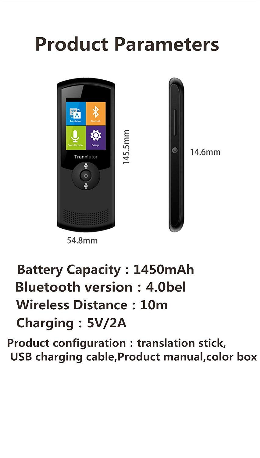 Smart Voice Translator Device with WiFi or 4G Touch Screen Support 41 Difference Foreign Languages Translated(Black) (Black) by Zuchini (Image #5)