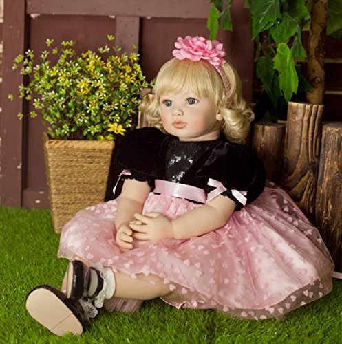 PURSUEBABY Beautiful Soft Body Real Life Princess Girl Doll with Blond Curly Hair Luna, 22 Inch Lifelike Toddler Doll Poseable Snuggle Children Gift