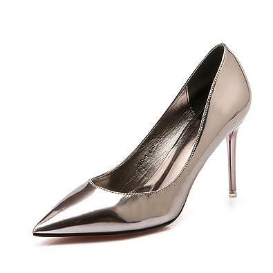 Unbekannt Damen Pumps Spiegel Lackleder Spitz Zehen Stilettos High Heels Modische Metallic Einfache Weich Abendschuhe