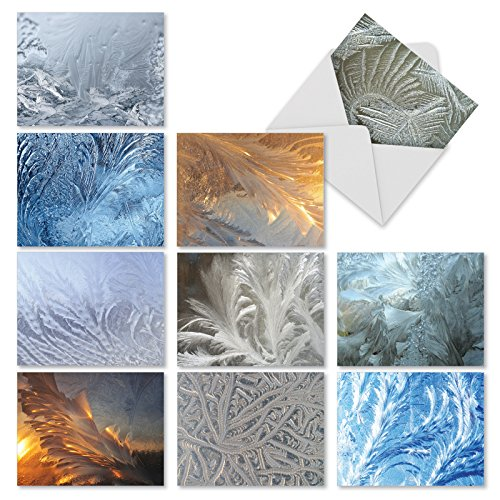 M2283 Ice Feathers: 10 Assorted Christmas Note Cards Featuring Feathery Images Of Ice Crystals, w/White Envelopes.