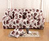 YUTIANHOME Soft Velour Floral Sofa Covers 1-Piece Polyester Spandex Fabric Slipcover, Loveseat, Flower Dance