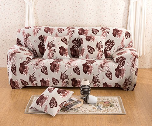 CXYHomebetter Soft Velour Floral Sofa Covers 1-Piece Polyester Spandex Fabric Slipcover (Loveseat, Flower Dance) by CXYHomebetter