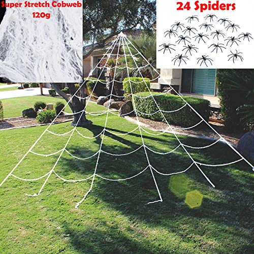 JOYIN Halloween Decorations 23X18 ft Triangular Mega Spider Web for Outdoor Halloween Decor Yard with 120g Super Stretch Cobweb 24 Spiders White