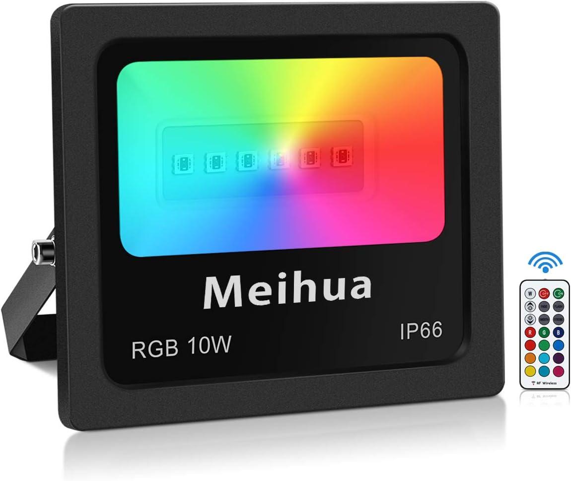 Foco RGB Led 10W, MEIHUA Foco 13 Colores con Control Remoto, 4 Modos+6 Brillo Regulable, Foco Proyector Exteriores para Cartelera, Escultura, Camino, Fiesta, Bar [Clase de eficiencia energética A+]