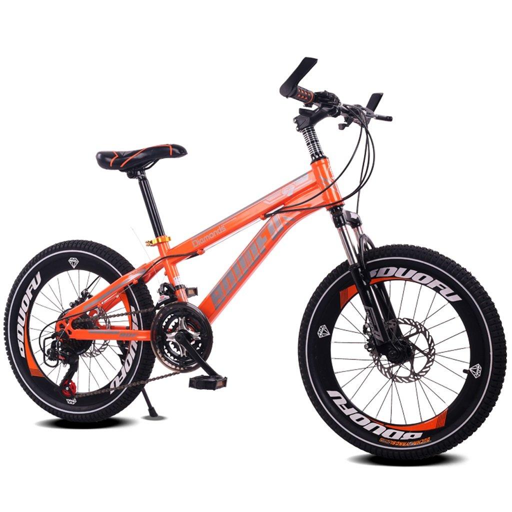 子供の自転車7-10-14歳の男の子のマウンテンバイク18/20インチのシフトの赤ちゃんキャリッジハイカーボンスチールバイク、青/黄/赤/オレンジ (Color : 18 inch orange) B07D1JYBXY