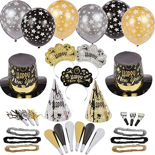 Amscan Black Tie Affair New Year's Party Kit for 50, Includes Top Hats, Cone Hats and Tiaras -