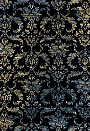 Collection Victorian Woven Area Rug, 4' x 6', Navy/Blue/Soft Yellow (4' Victorian Collection)