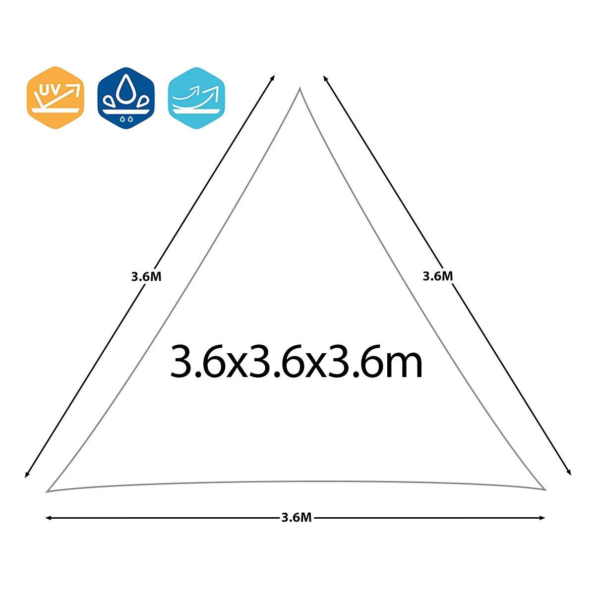 Protezione dai Raggi UV Colore Avorio EGLEMTEK Tenda Parasole Triangolare a Vela Telo da Sole da Esterno Tessuto in Polietilene Resistente e Impermeabile 3x3x3 m