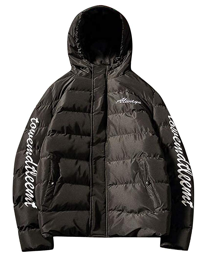 Jotebriyo Mens Letter Print Plus Size Loose Fit Hooded Down Quilted Puffer Jacket Coat Outerwear