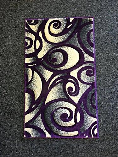 Modern Door Mat Area Rug Purple & Grey 400,000 Point Design #341 Contempo (2 Feet X 3 Feet 4 Inch Purple trim) - 2 Door Furniture Trim