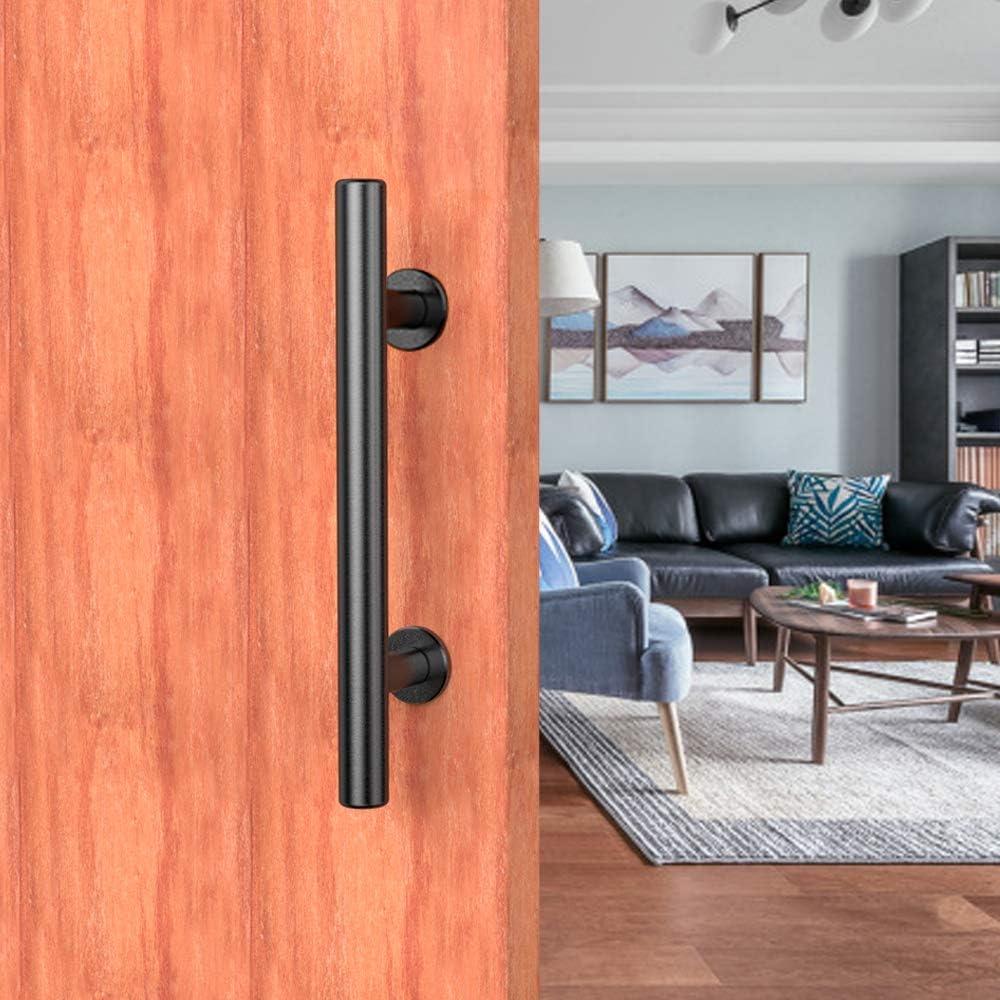 Tirador para puerta de granero de acero inoxidable 304 resistente con asas de color negro y orificios grandes de 185 mm para puerta de madera