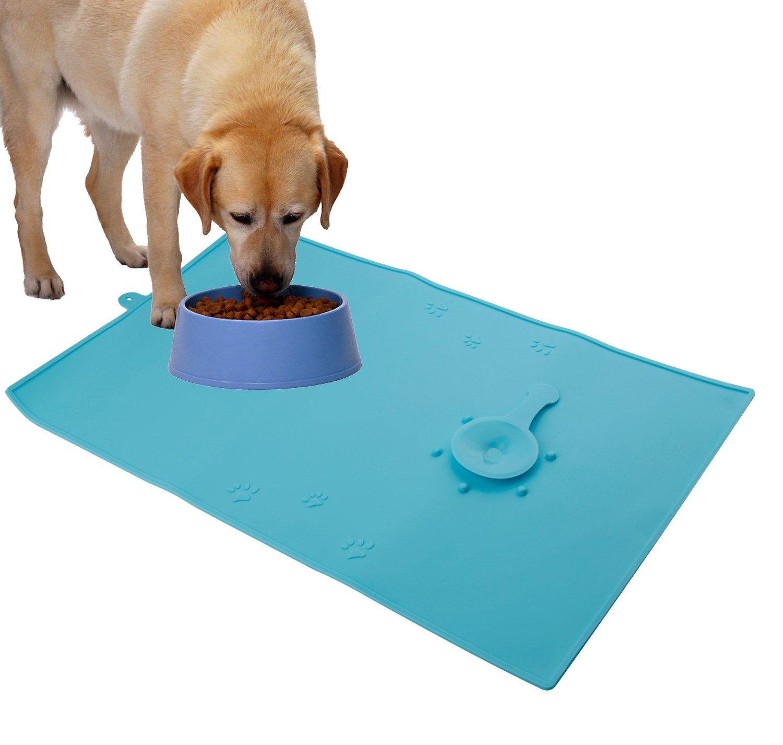 Petetpet Pet Food Mat Spill Resistant Dog Feeding Mat for Cat Bowls 18.9x11.8...