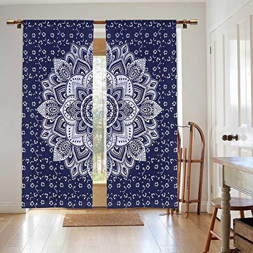 Madhu International Mandala Panel Curtain (W41 X L88, Blue Silver)