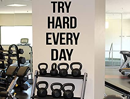Amazon wall vinyl decal gym motivational quote try hard every
