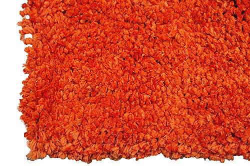 Cheap Bright Orange Burnt Orange Rust 5'x7′ Feet Large Living Room Bedroom Fluffy Fuzzy Furry Flokati Solid Plain Plush Soft Medium Pile Modern Contemporary Cozy Sale (Orange Popcorn)