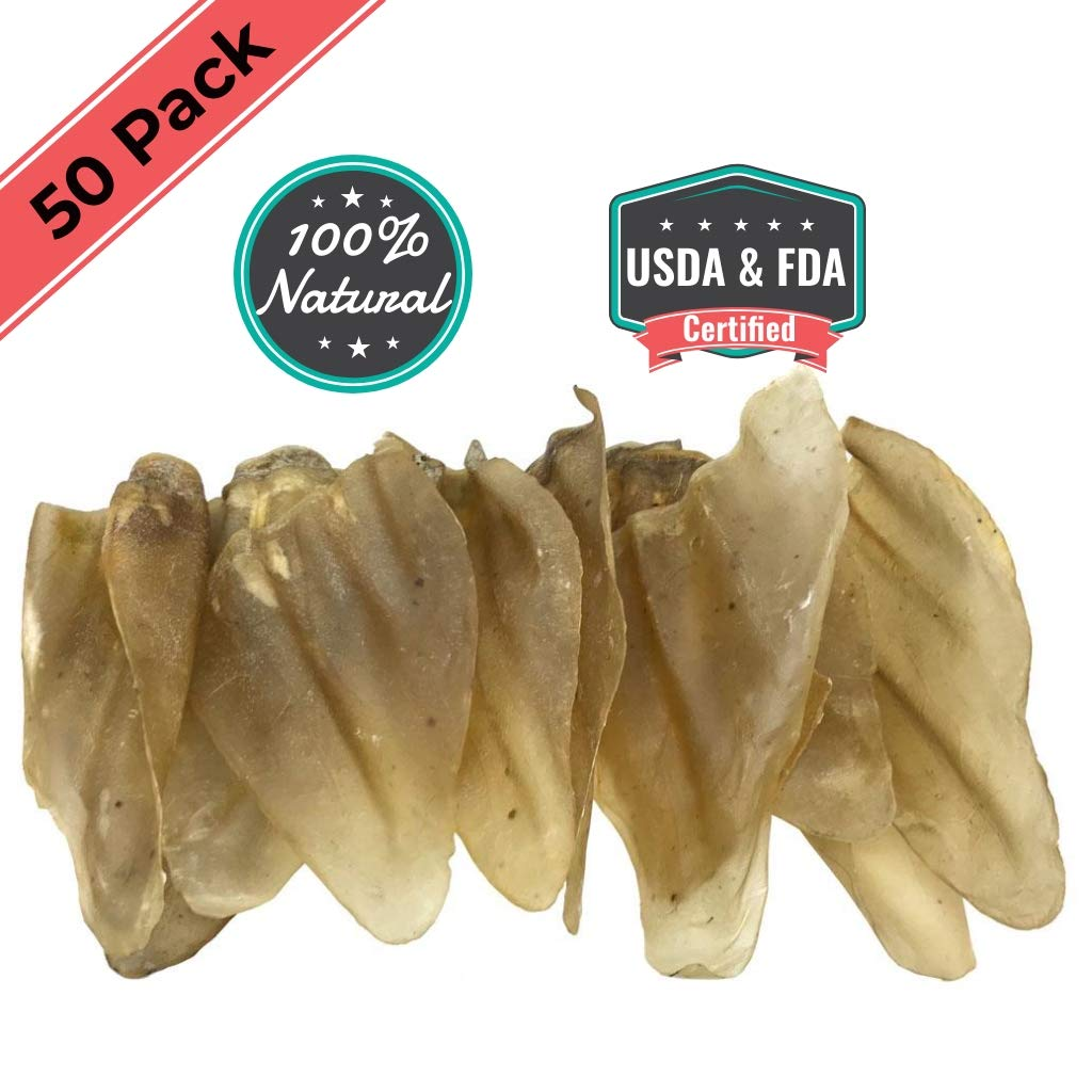 Ezlis Jumbo Cow Ears Dogs Chews 50 Pack, Full Brazil Thick Large Cows Ears for Dog Chew Treats, Premium Bulk Beef Treats, Dog Dental Health, 100% All-Natural Whole Beef Ears USDA & FDA Certified