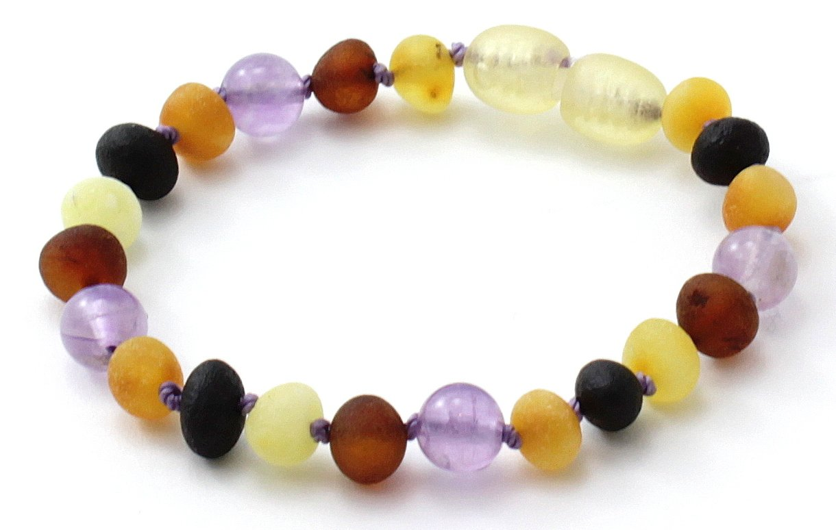 Unpolished Baltic Amber Teething Bracelet / Anklet made with Amethyst Beads - Size 5.5-6.3 inches (14-16 cm) - Raw Multicolor Amber Beads - BoutiqueAmber (6.3 inches, Raw Multi / Amethyst)